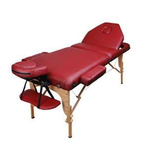Portable Useful Grand 3 Inch In Burgundy Wood Massage Table For Body