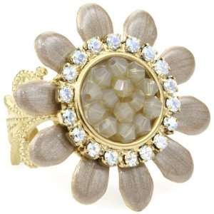 Crystales Opalos Sand Enameled Flower Ring with Rock Crystal Center