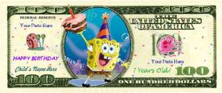 SPONGEBOB SQUAREPANTS Personalized Kids Birthday Bill !
