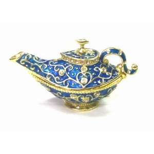 Vintage Blue Enamel Aladdin Teapot   Jewelry Trinket Box
