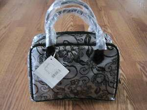 COSMETIC/DUFFLE BAG BLACK & GREY FLORAL PRINT NWT