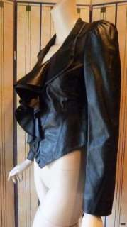 Authentic DVF / Diane von Furstenberg Black Leather / Ruffle Collar