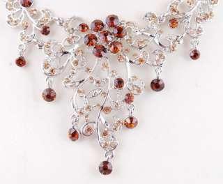 Flower Wedding Bridal Rhinestone Crystal Necklace Earrings 1Set