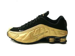 Nike Shox R4 Metallic Gold Black Men Sneakers NEW