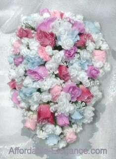 Cascade Bouquet Silk WEDDING Flowers Rose Pinks, Blue, Lavender