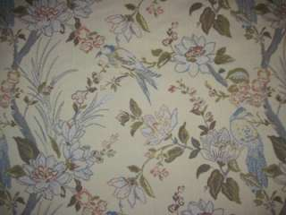 Vintage Beautiful Blue Birds w/Florals Heavy Brocade Upholstery Fabric