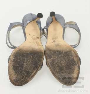 Jimmy Choo Metallic Silver Blue High Heel Sandals Size 37