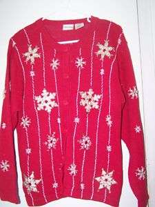 Bobbie Brooks Womans Size Small 4   6 Red SnowFlake Christmas Sweater