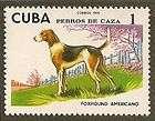 Dog Art Full Body Study Portrait Postage Stamp AMERICAN FOXHOUND Cuba