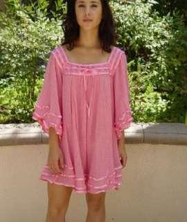 Vtg Style Bohemian Gypsy Hippie Gauze Tunic Dress Med.