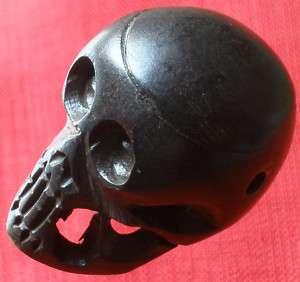 Tibet ox bone carved little black skeleton skull head p