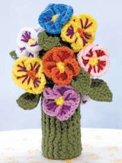FLOWER BOUQUET POT HOLDERS, Crochet Pattern Book, NEW