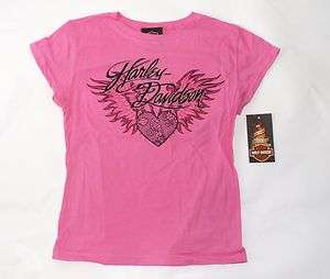 Girls Harley Davidson T Shirt   Pink Hearts   Kids Clothes