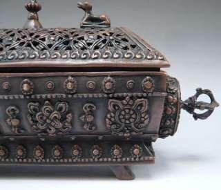 Old Tibetan 8 Auspicious Symbols Incense Burner Censer
