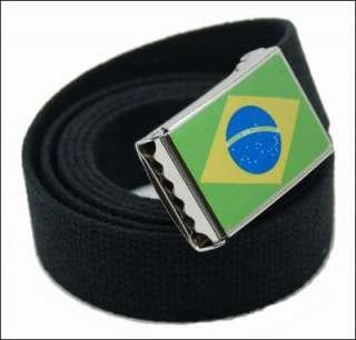 CUSTOM MADE BRASIL FLAG CANVAS WEB BELT & BUCKLE