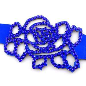 Royal Blue Rose Crystal On Faux Suede Band Bracelet With
