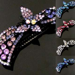 SHIPPING, 1pc rhinestone crystal butterfly hair barrette clip