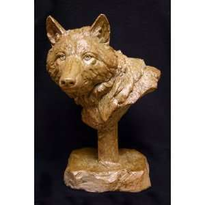 Fine Art Wildlife Wolf Bust (Finish Shale & Bronze)