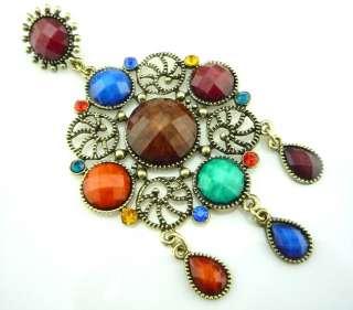 Vintage Tibet Silver Crystal Stud dangle earrings E42