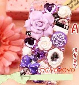 Crystal Iphone hard case 4 4G 4S 4gs purple flower ANNA SUI STYLE