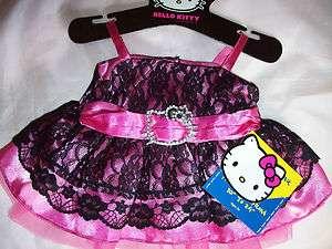 BUILD A BEAR HELLO KITTY DRESS LACE BLACK FUCHSIA NEW