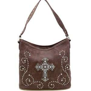 New Rhinestone Western Style Cross & studs Hobo Bag Purse Handbag