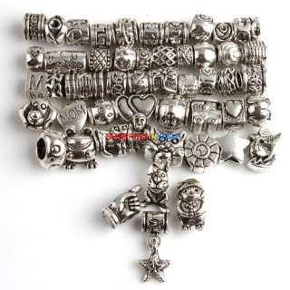 Wholesale Freeship  50 New Assorted Tibetan Silver Alloy Charms BeadS