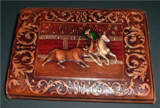painted leather WALLET cowboy rodeo western bull rider fight