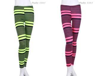 Multi Neon Stripes Full Length Long Leggings Tights Skinny VARIOUS