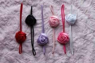 Elastic skinny hair headband newborn baby girl small flower rossette