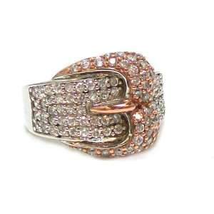 Second Glance Designs Sterling Silver and Rose Gold Plated Pave Buckle