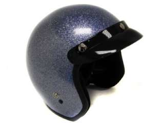 Metal Flake Motorcycle Helmet Vintage Glitter Blue Open Face