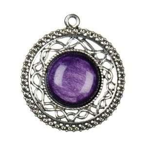 Cousin Jewelry Basics Metal Pendant 1/Pkg Silver/Purple Round Filigree