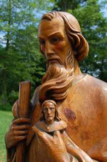 Hand Carved Wood Statue of St. Jude + + + + chalice +