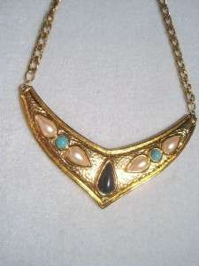 VINTAGE AVON BIB NECKLACE GOLD TONE TEAR DROP CABOCHONS