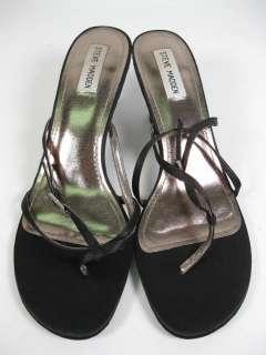 STEVE MADDEN Black Strappy Thong Sandals Heels 9.5 10 M