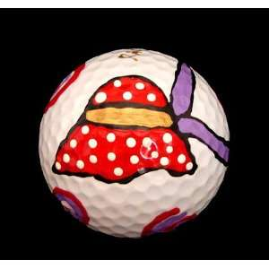 GOLF BALL   HAND PAINTED   DESIGN RED HAT DAZZLE