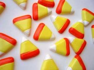 20 Halloween Candy Corn Resin Flatback Button/bead B31