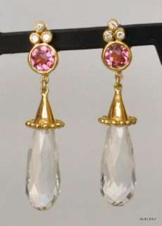 New $2,500 TEMPLE ST CLAIR 18K Gold Pink Tourmaline Crystal Earrings