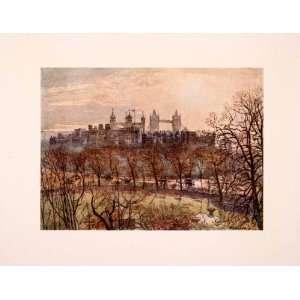 1910 Print Skyline Tower London Prison Bridge City