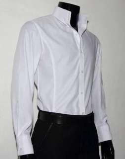 Spread collar dress shirt in white neck and sleeve dress for Mens high collar dress shirts