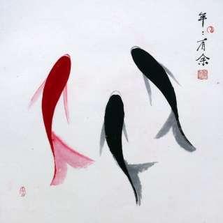 chinese painting koi fish carp 16x16 oriental Asian abstract art