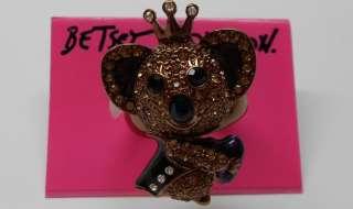 Betsey Johnson Asian Jungle Stretch Ring (Koala Bear is holding a