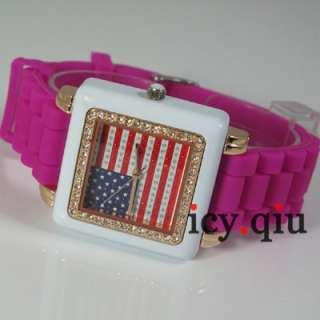 US Flag Style Watch ~ Fashion ladies Watches Purple E2