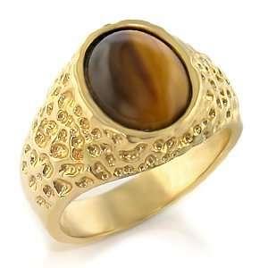 MENS CZ RING   Semi Precious Tiger Eye Meníªs Ring Jewelry