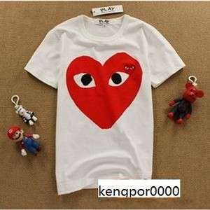 COMME Des GARCONS CDG PLAY RED HEART MENS T SHIRT WHITE SZ S,M,L