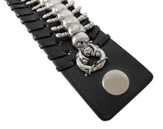 Black Vinyl Chrome Centipede Bracelet Wristband