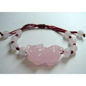 Fashion Jewelry ~ Pink Pi Yao Jade Stone Bracelet ( Ward
