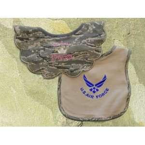 AIR FORCE PRINCESS BIB & 1  Solid Tan Larger Bib with a bright blue