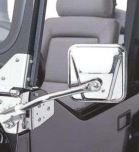 SmittyBilt 55 86 Jeep CJ5 & CJ7 Stainless Steel Side Mirrors   Brand